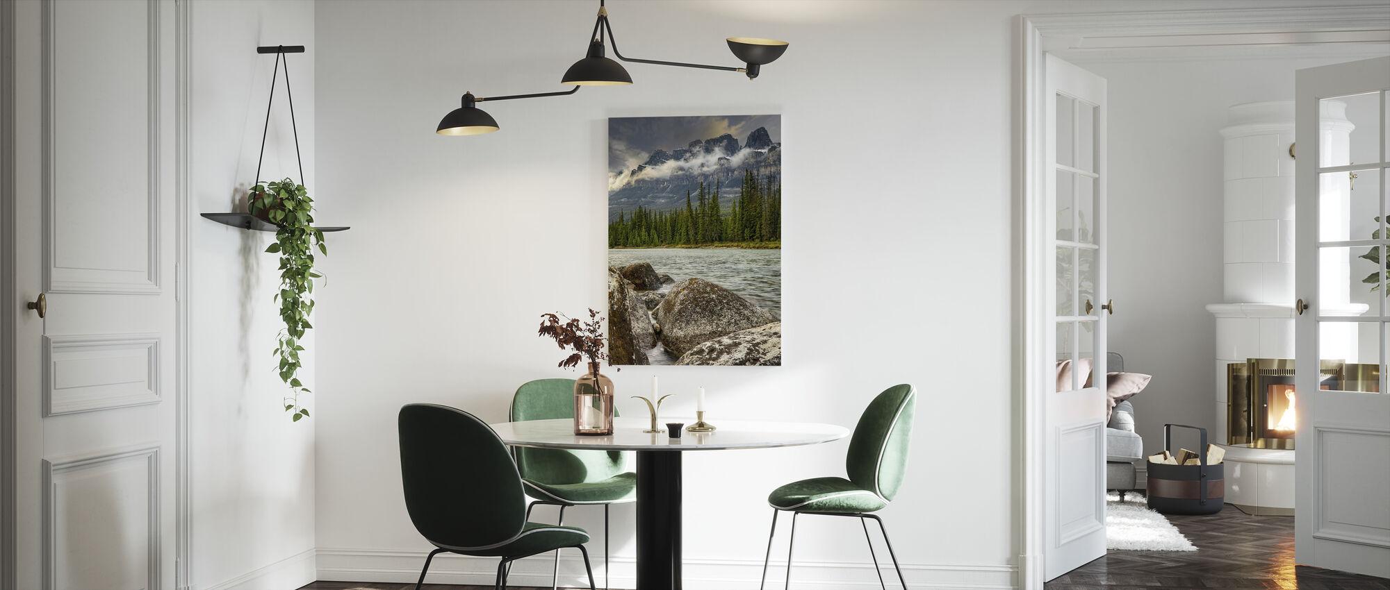 Spring River under Mountain Range - Canvas print - Kitchen