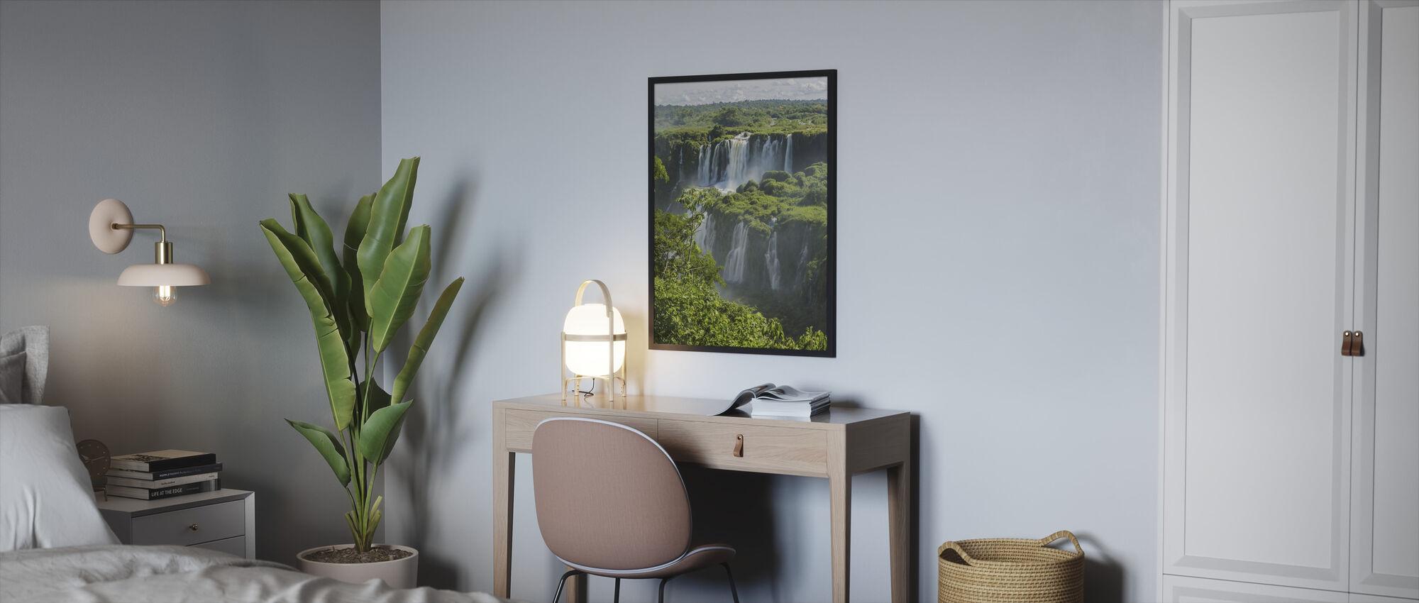 Iguazu Waterfall Through Trees - Framed print - Bedroom