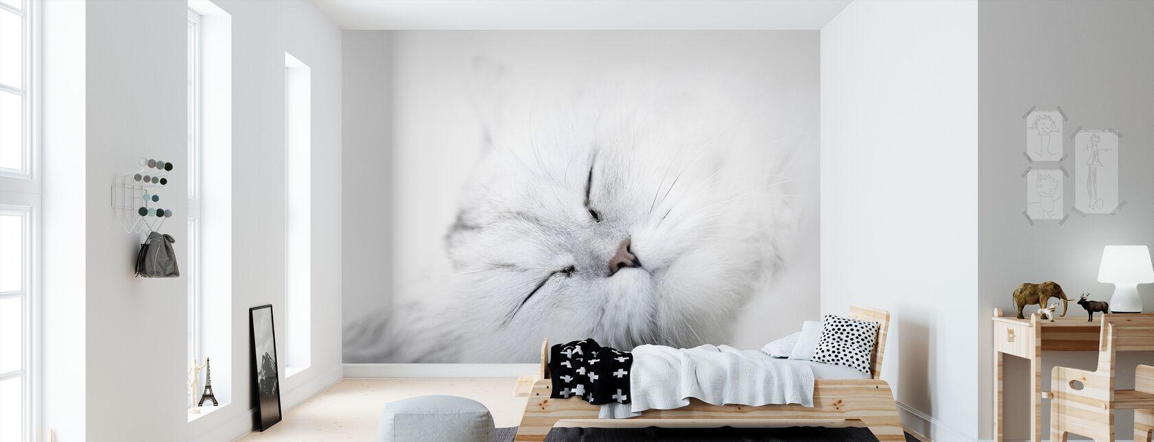 Witte Kat - Behang - Kinderkamer