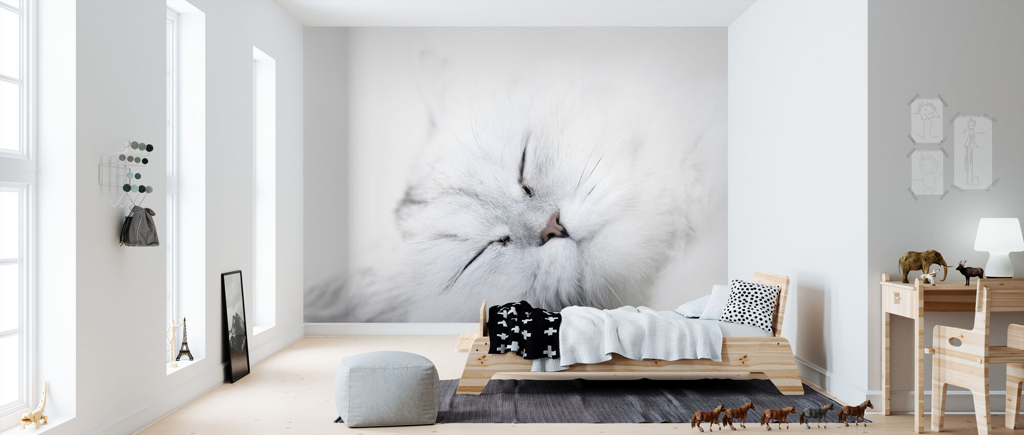 White Cat - Wallpaper - Kids Room