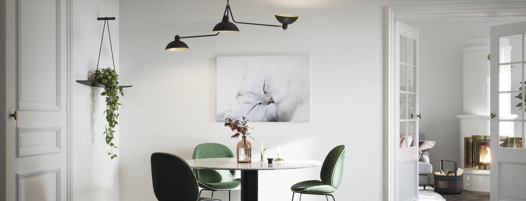 Valkoinen kissa - Canvastaulu - Keittiö