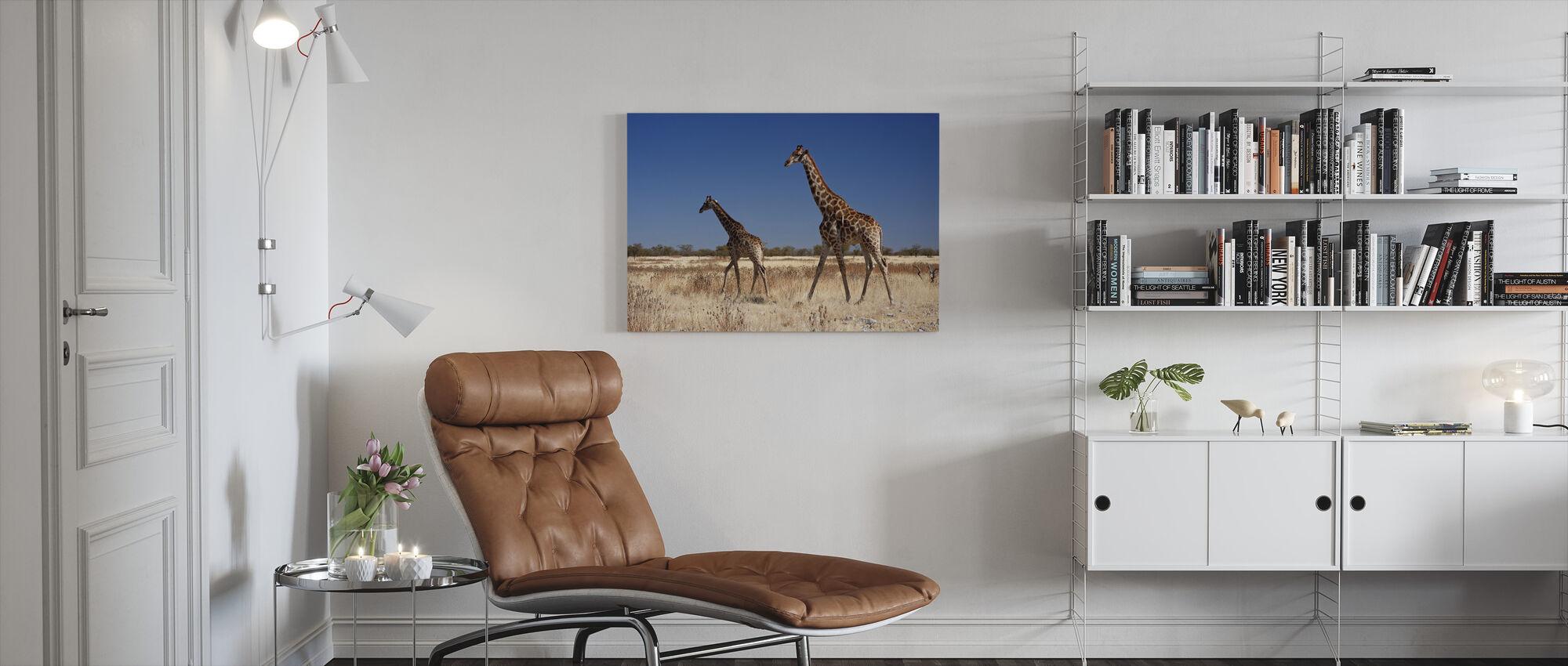 Giraffen in Nationaal Park Etosha - Canvas print - Woonkamer
