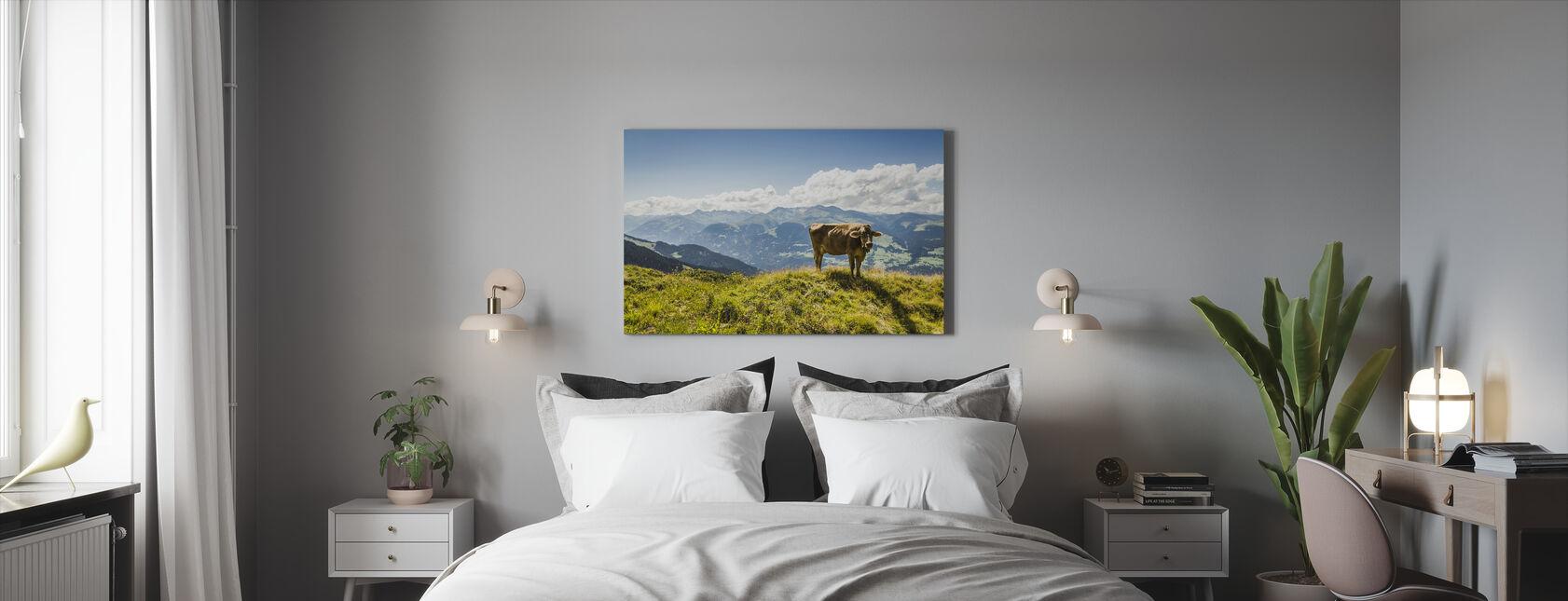 Cow Grazing on Grassy Hillside - Canvas print - Bedroom