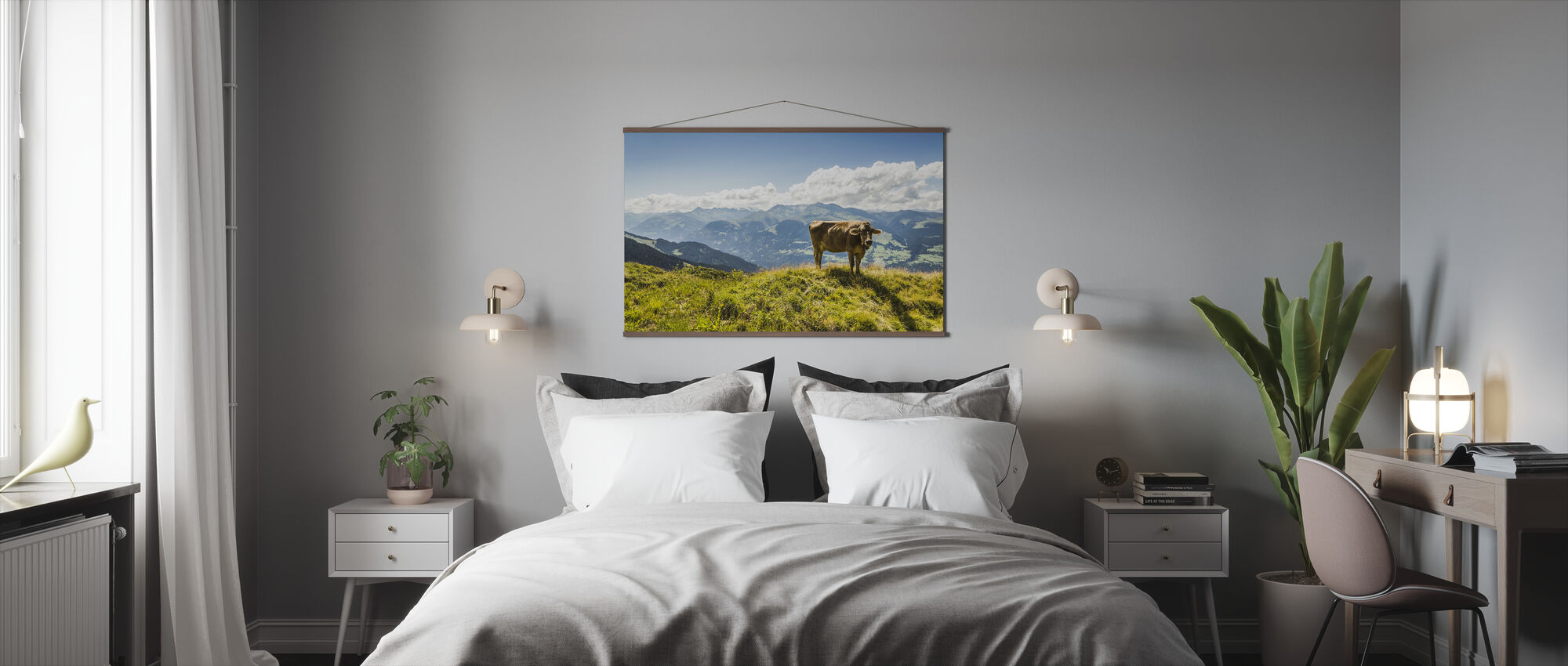 Cow Grazing on Grassy Hillside - Poster - Bedroom