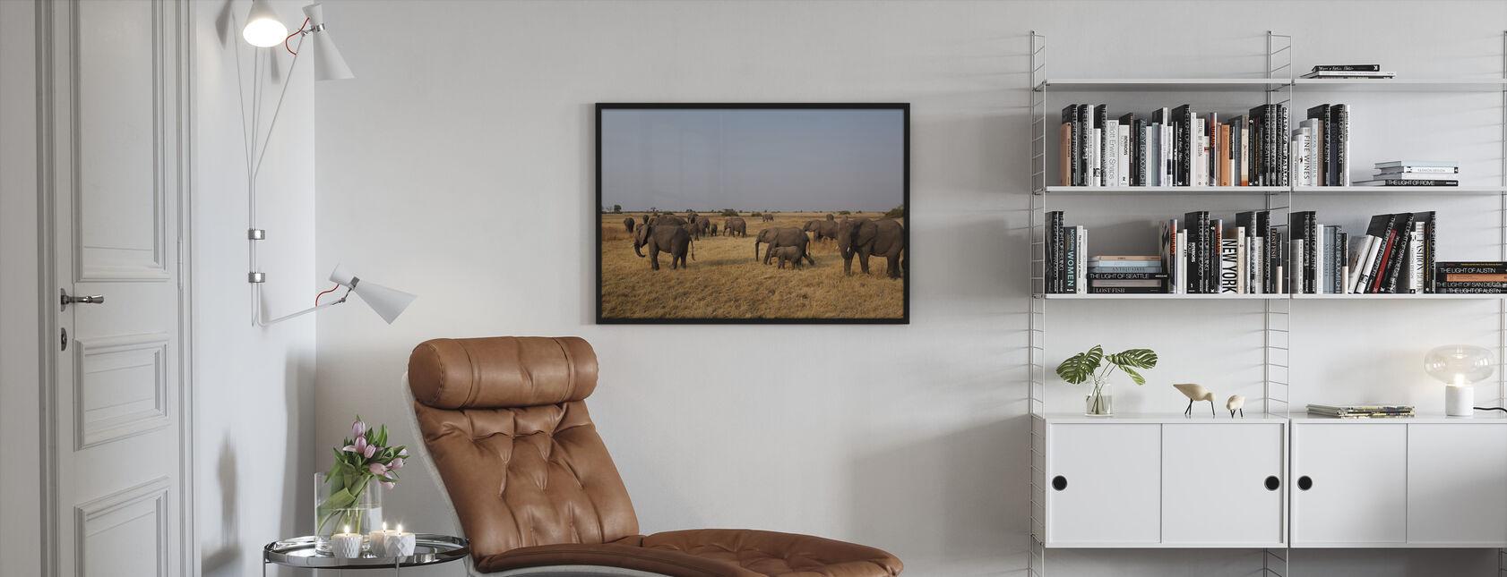 African Elephant Herd - Framed print - Living Room