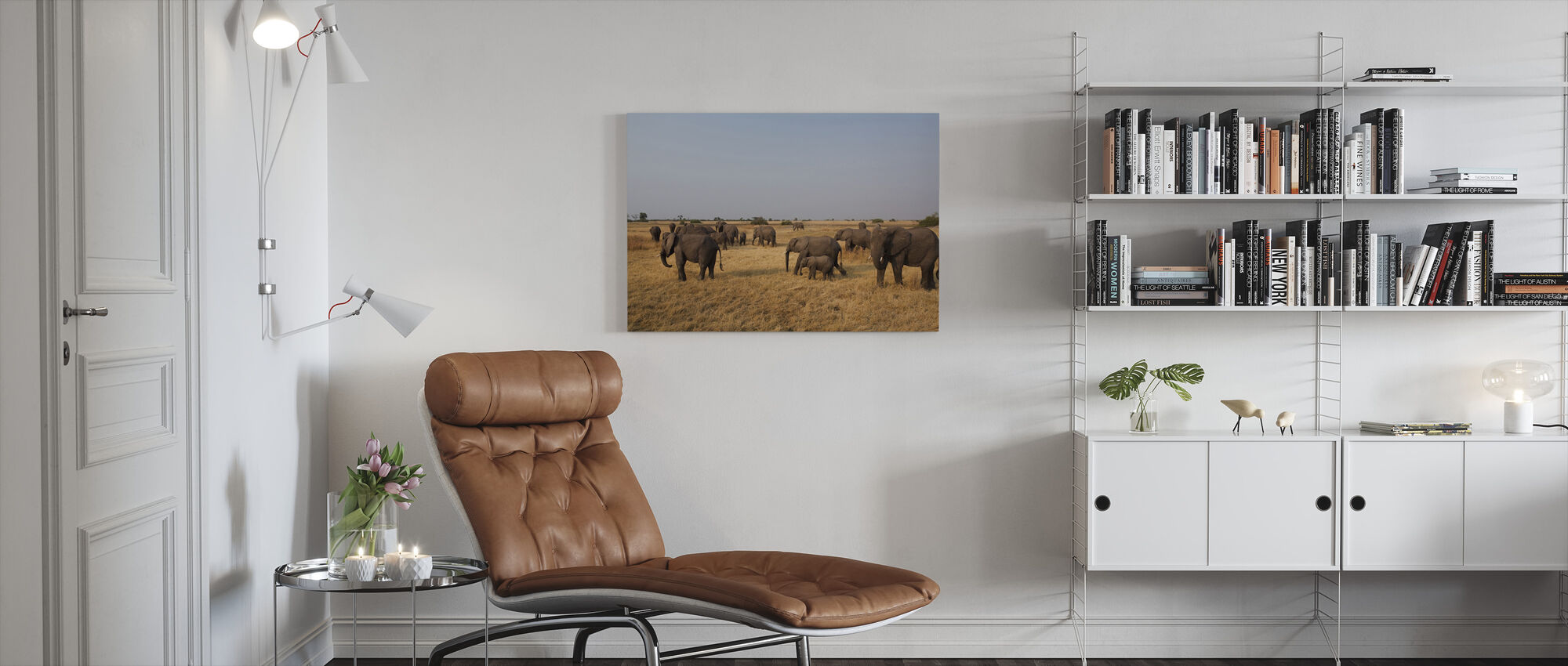 African Elephant Herd - Canvas print - Living Room