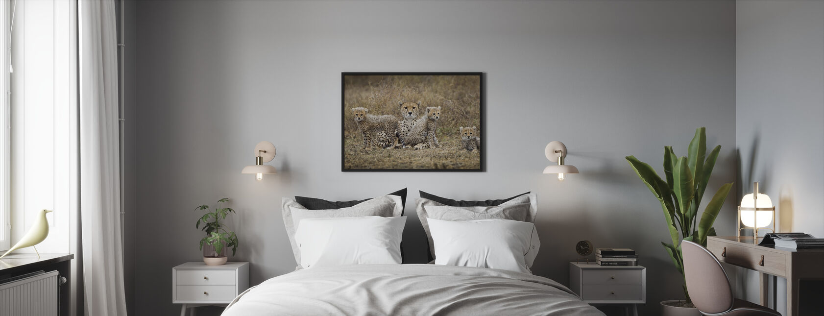 Cheetah Cubs and Mother - Framed print - Bedroom