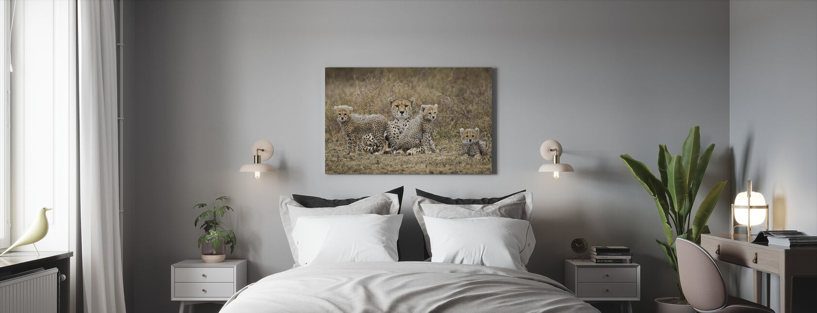Cheetah Cubs and Mother - Canvas print - Bedroom
