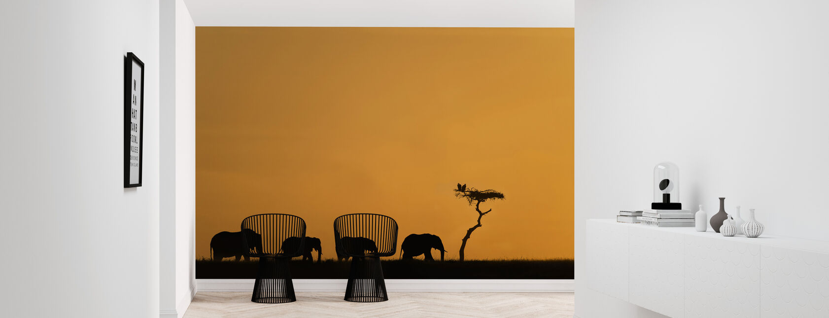 Herd of Elephants and Vultures at Sunrise - Wallpaper - Hallway