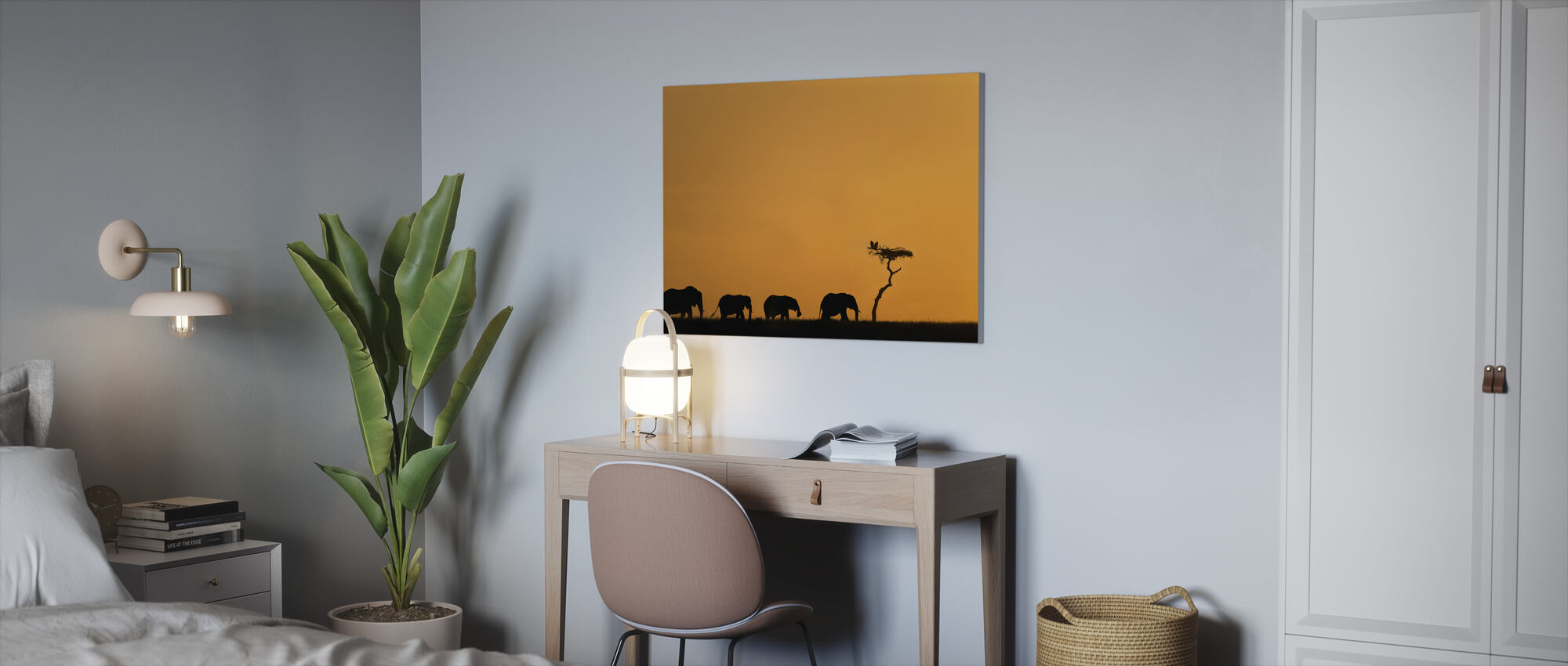 Herd of Elephants and Vultures at Sunrise - Canvas print - Office