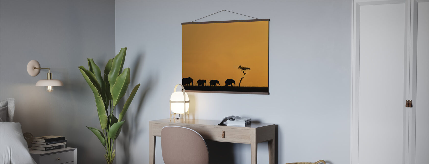 Herd of Elephants and Vultures at Sunrise - Poster - Office