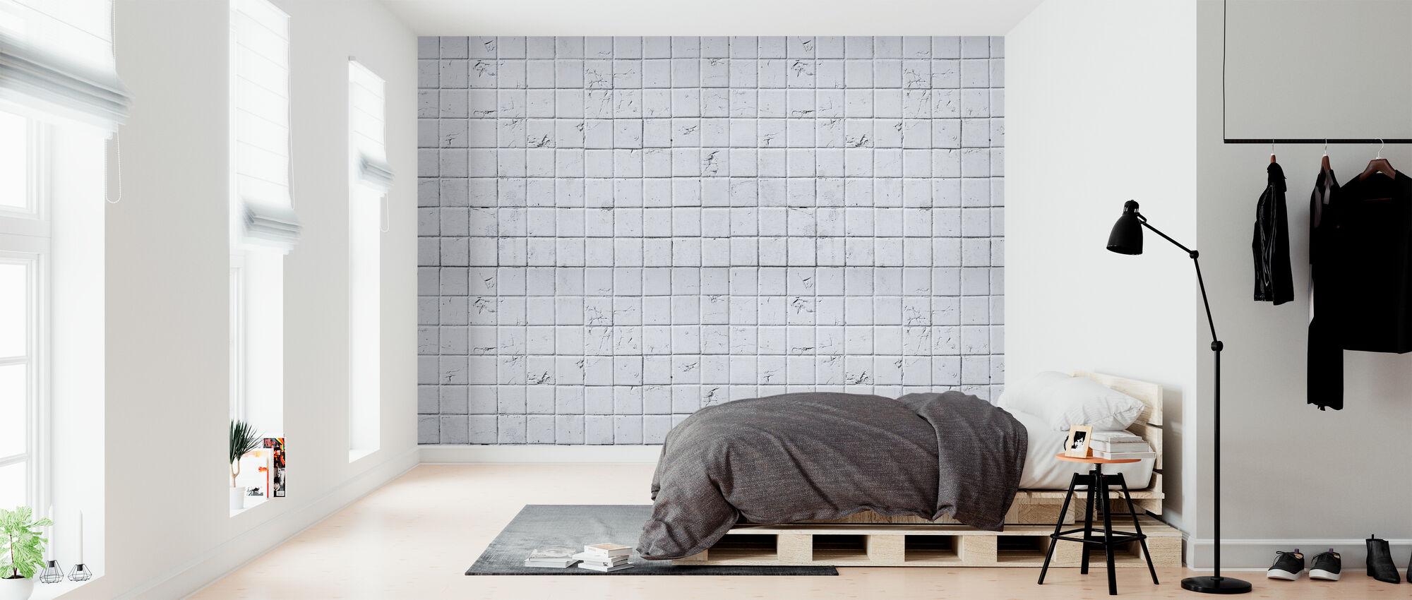 Oude witte tegel muur - 15x15 - Behang - Slaapkamer