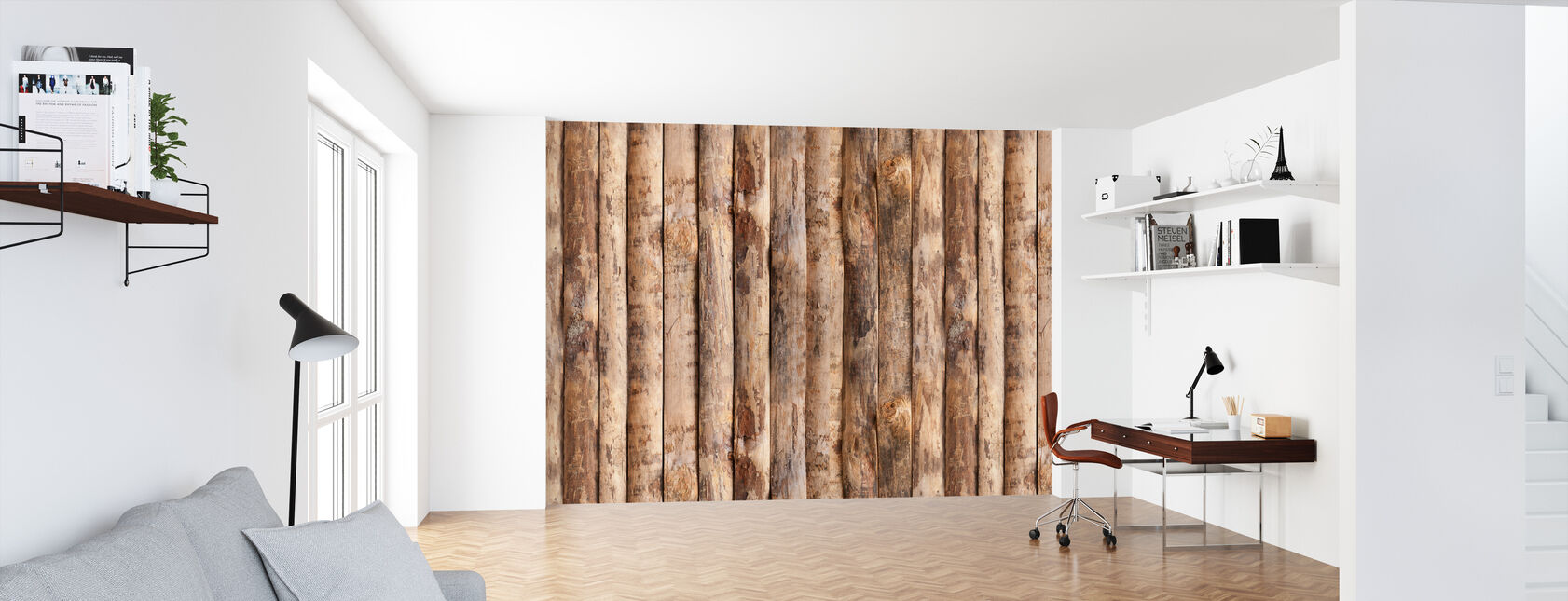 Opretstående trævæg - Tapet - Kontor
