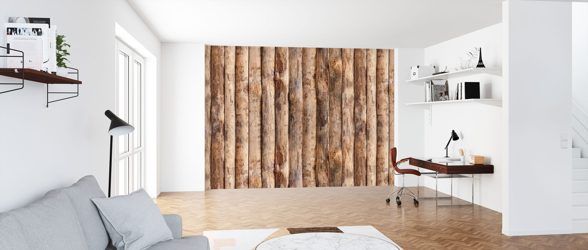 Upright Wooden Wall - Wallpaper - Office