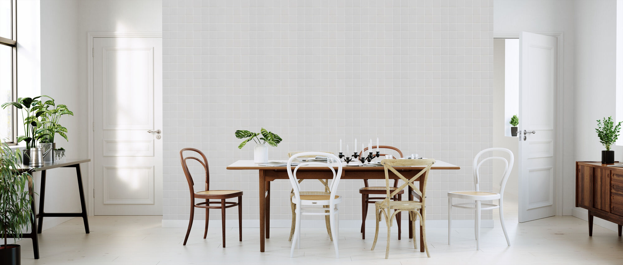 Weiße Keramikfliesen - 15x15 - Tapete - Küchen