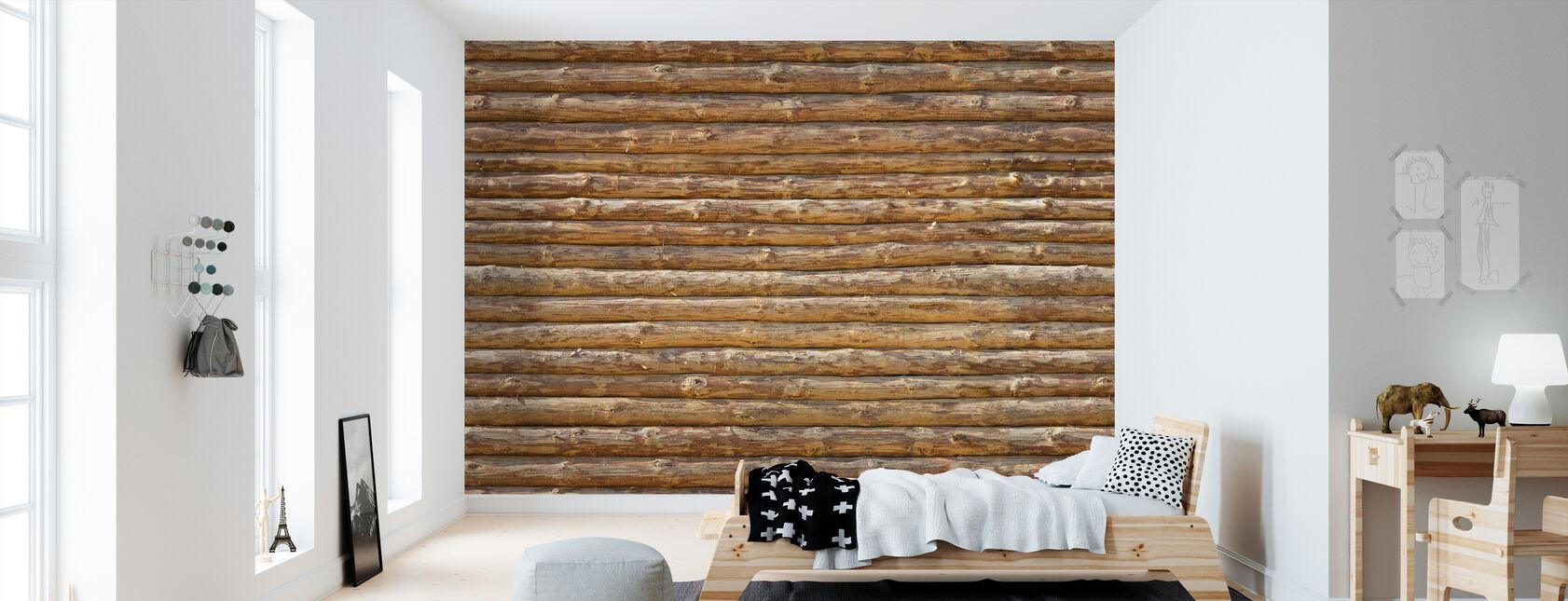 Wooden Logs Wall - Wallpaper - Kids Room