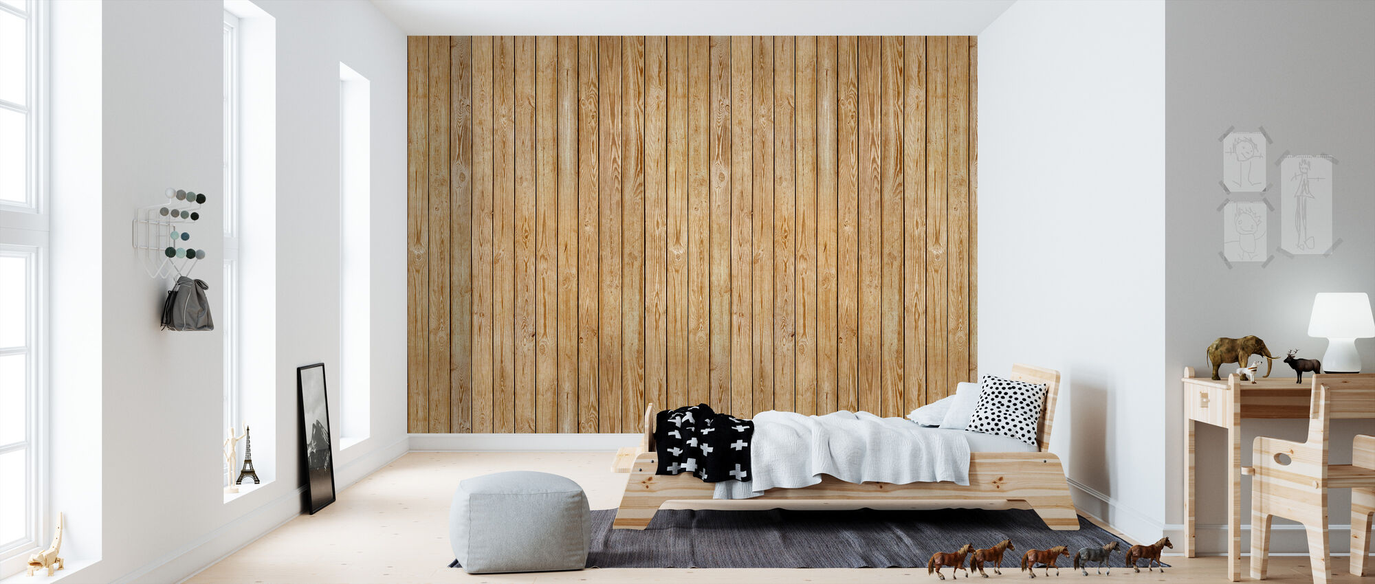 Wooden Plank Wall - Wallpaper - Kids Room