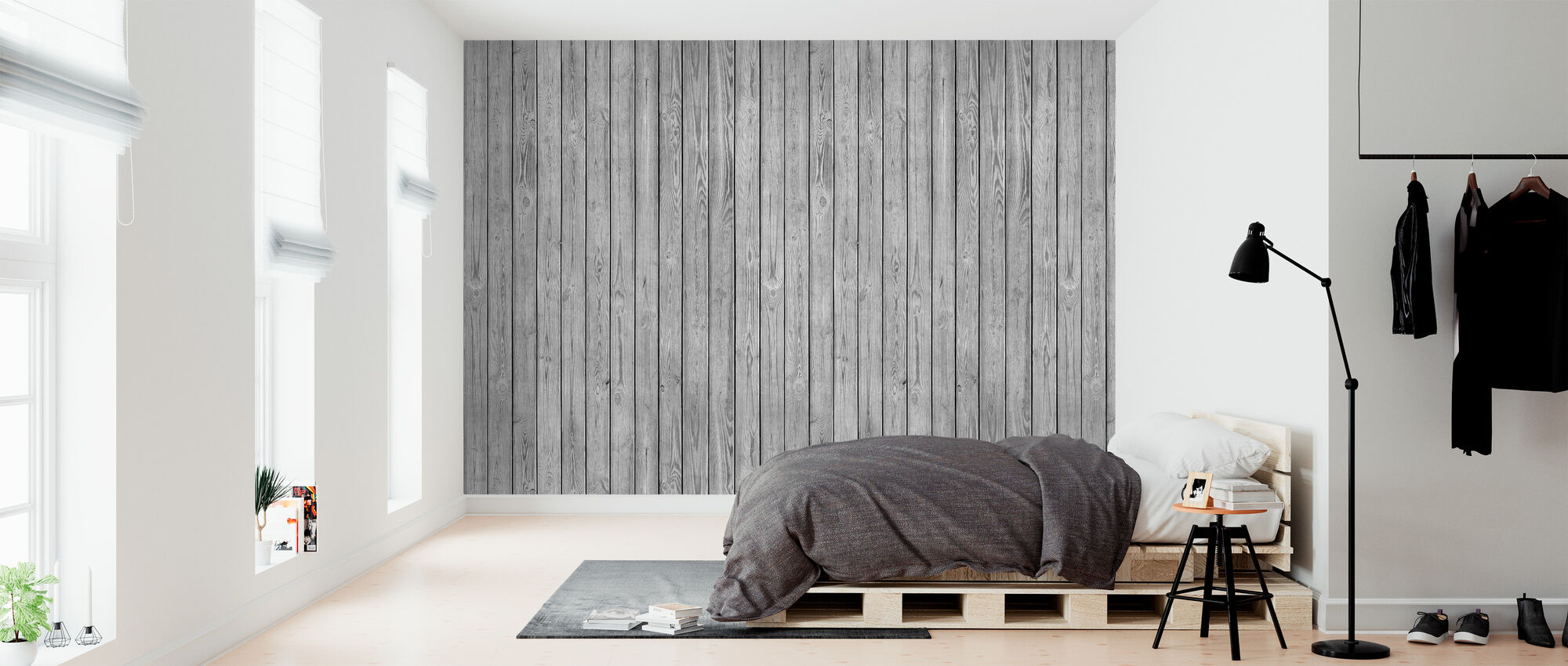 Wooden Plank Wall - Grey - Wallpaper - Bedroom