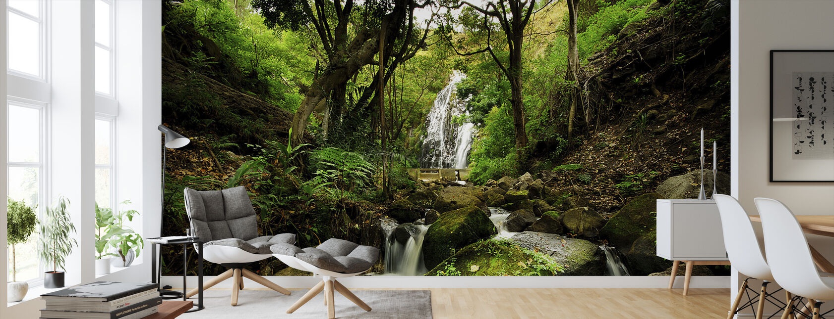 Peaceful Forest Waterfall - Wallpaper - Living Room
