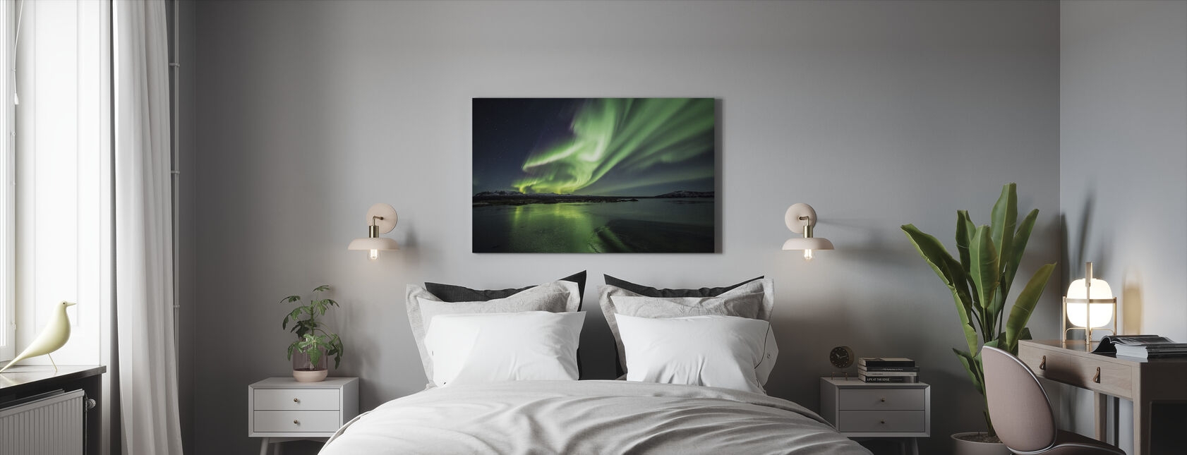 Lumoava Aurora Borealis - Canvastaulu - Makuuhuone