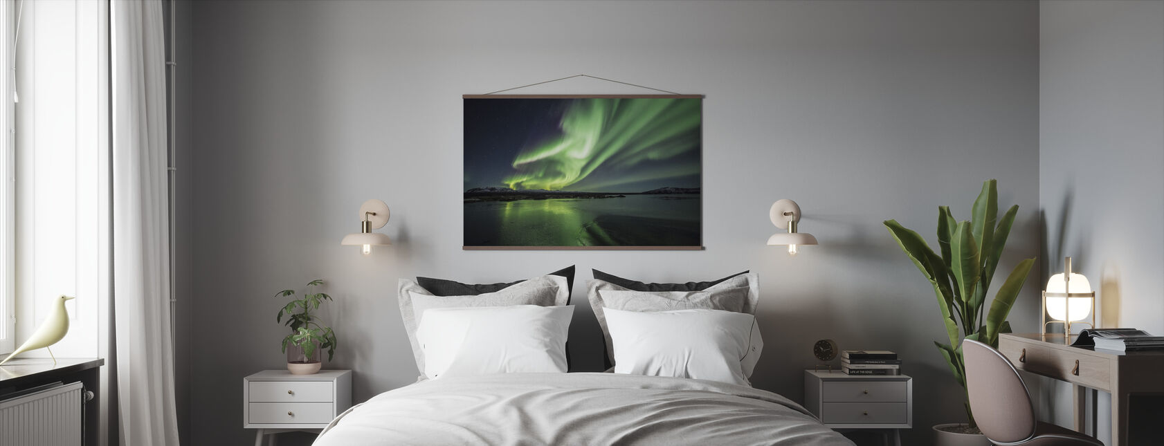 Lumoava Aurora Borealis - Juliste - Makuuhuone