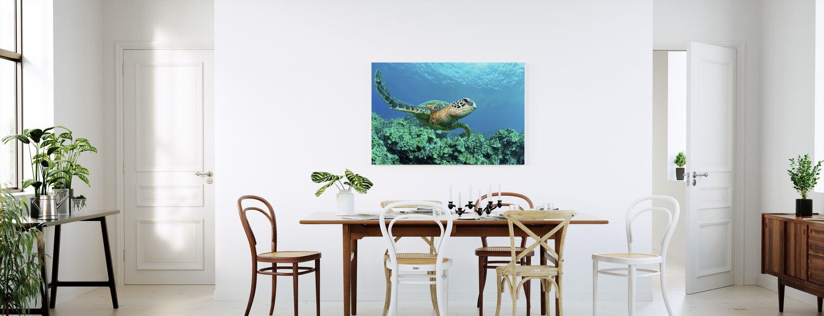 Sea Turtle in Coral - Canvas print - Kitchen