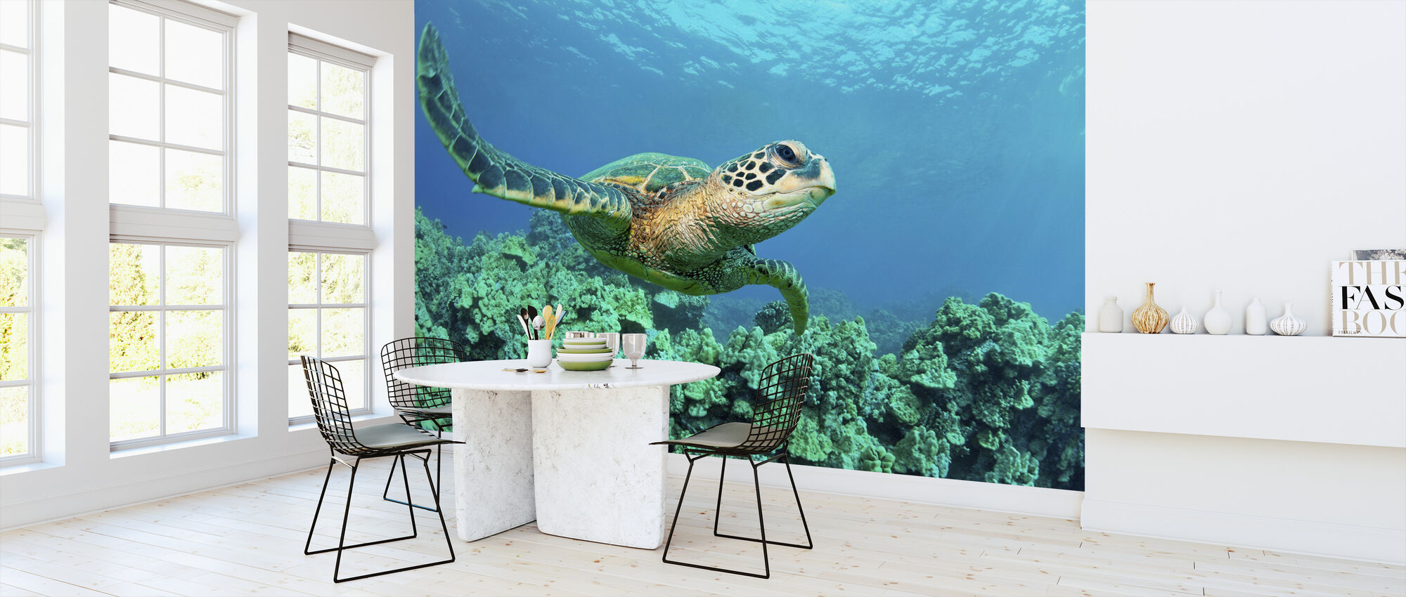 Sea Turtle in Coral - Wallpaper - Kitchen