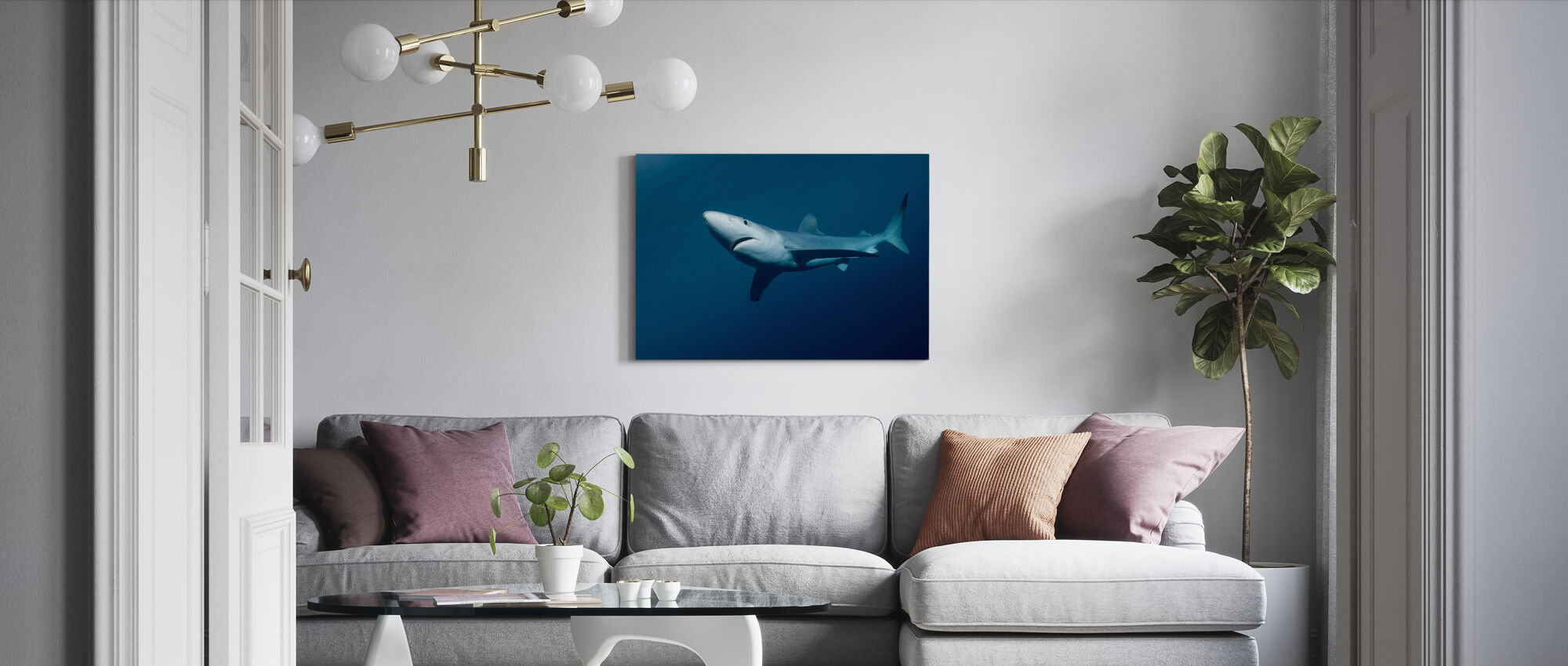 Blue Shark - Canvas print - Living Room