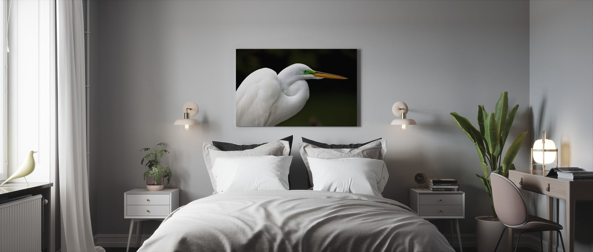 Great White Egret - Canvas print - Bedroom
