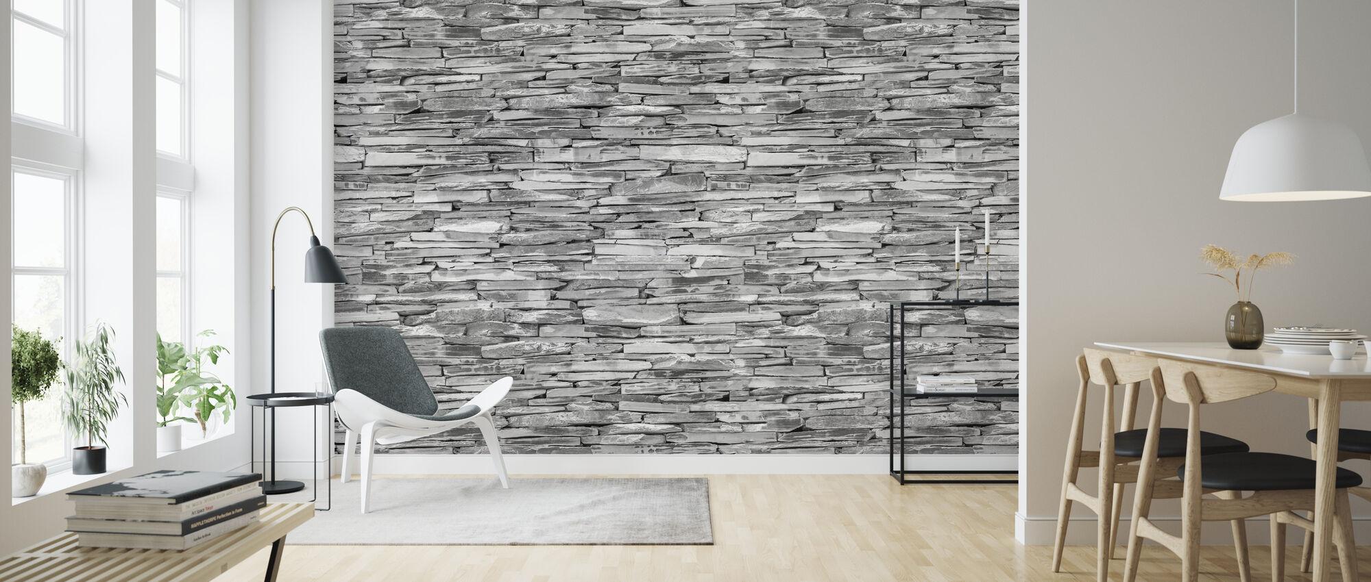 Stone Wall - Granite - Wallpaper - Living Room