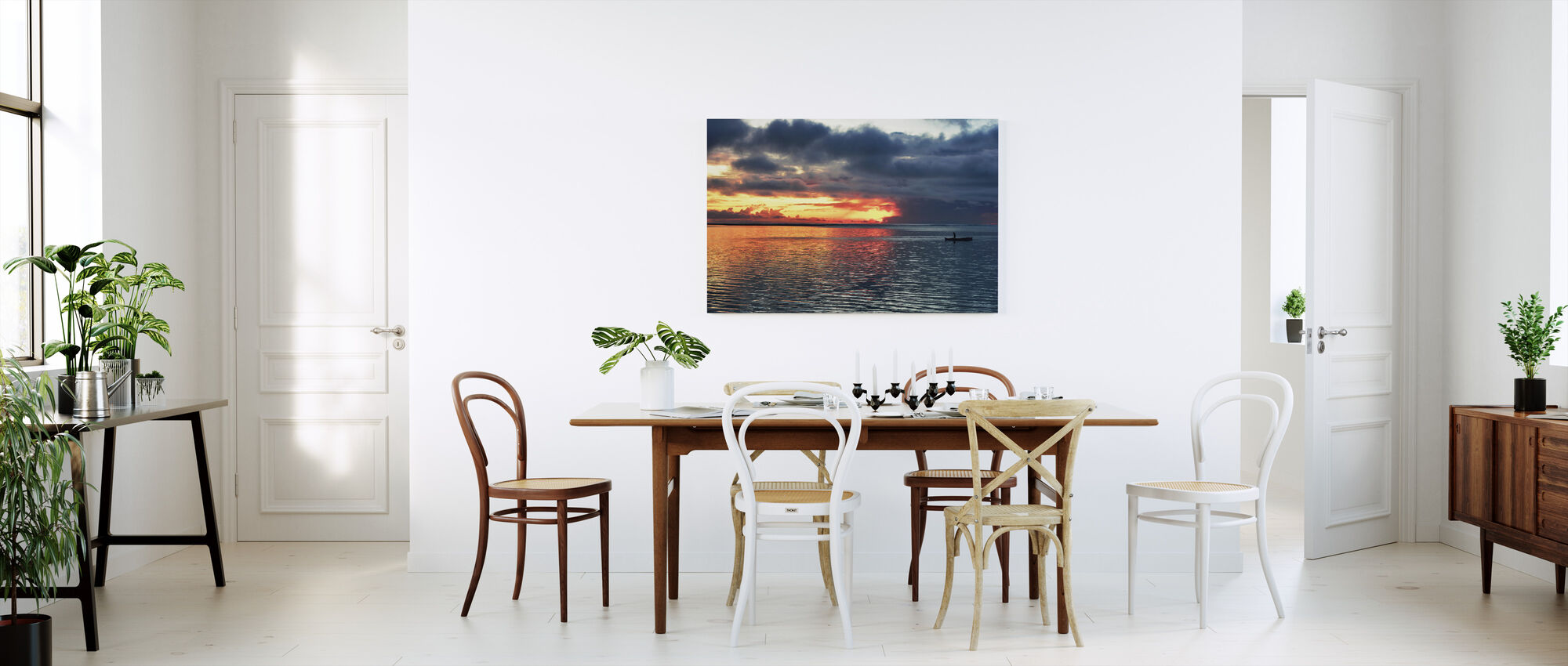 Sun is Setting With The Sea and Him - Canvas print - Kitchen