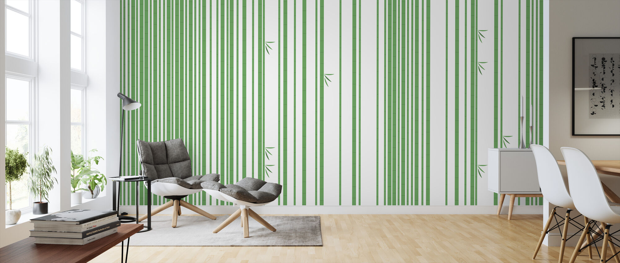 Bambu Forest Green - Wallpaper - Living Room