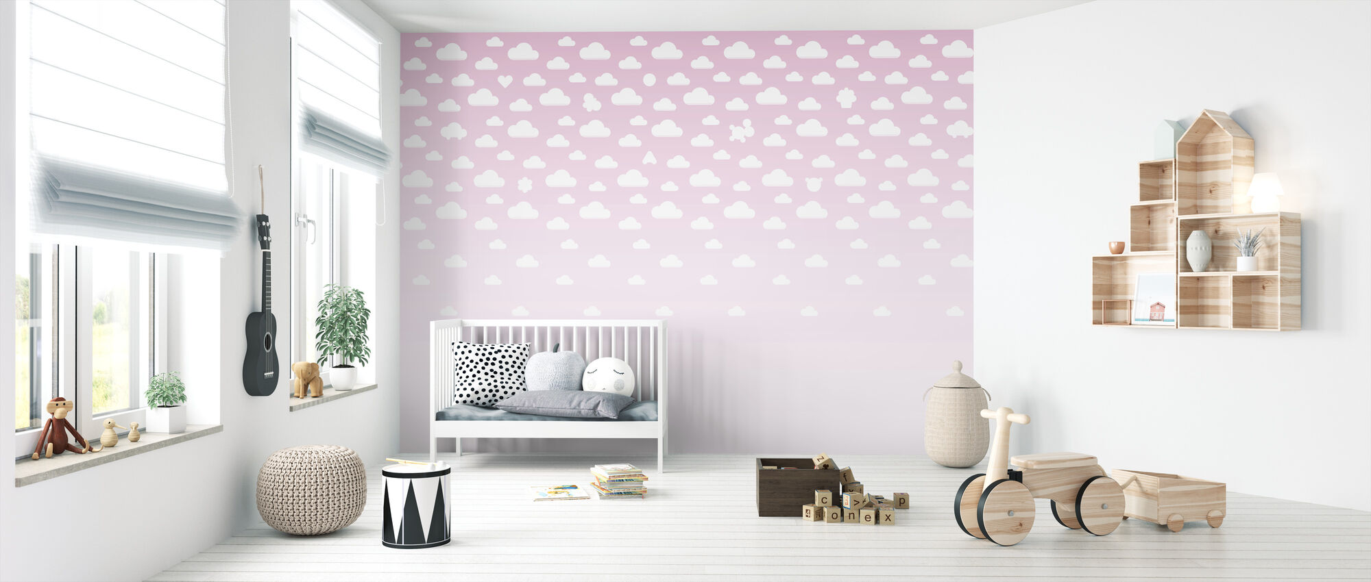 Cloudspotting Pink - Wallpaper - Nursery