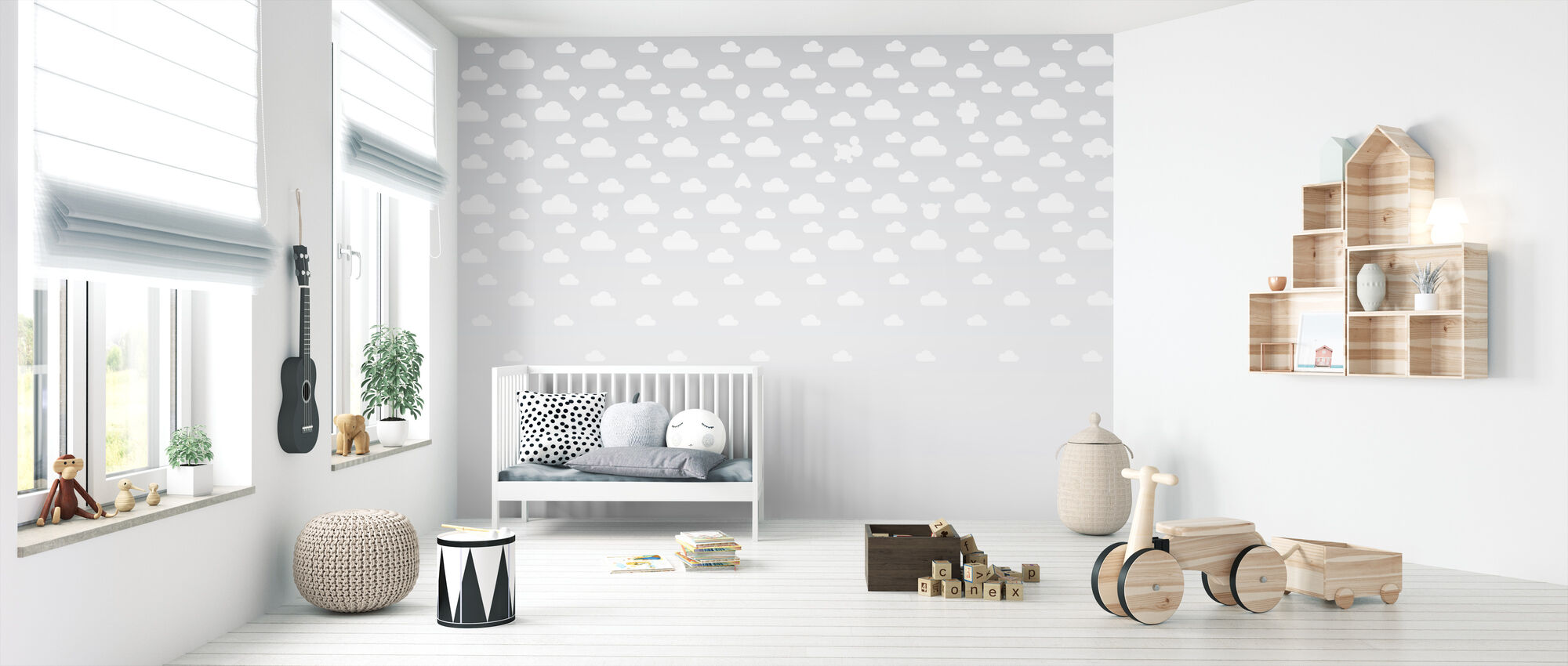 Cloudspotting Grey - Wallpaper - Nursery