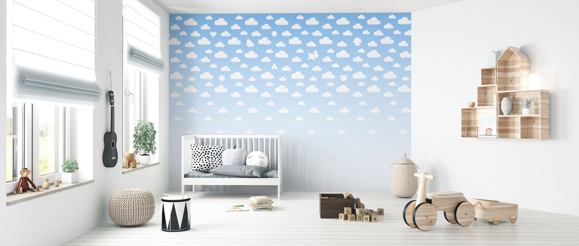 Cloudspotting Blue - Wallpaper - Nursery