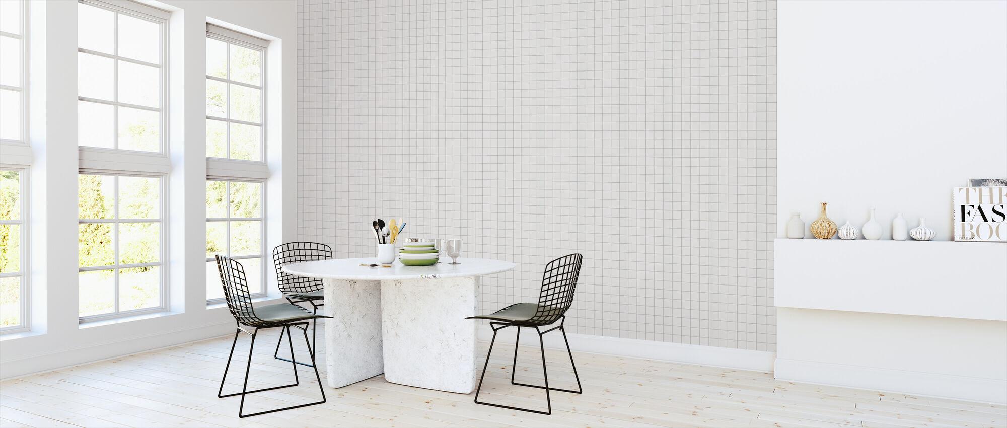 White Ceramic Tiles - 10x10 Grey Seam - Wallpaper - Kitchen