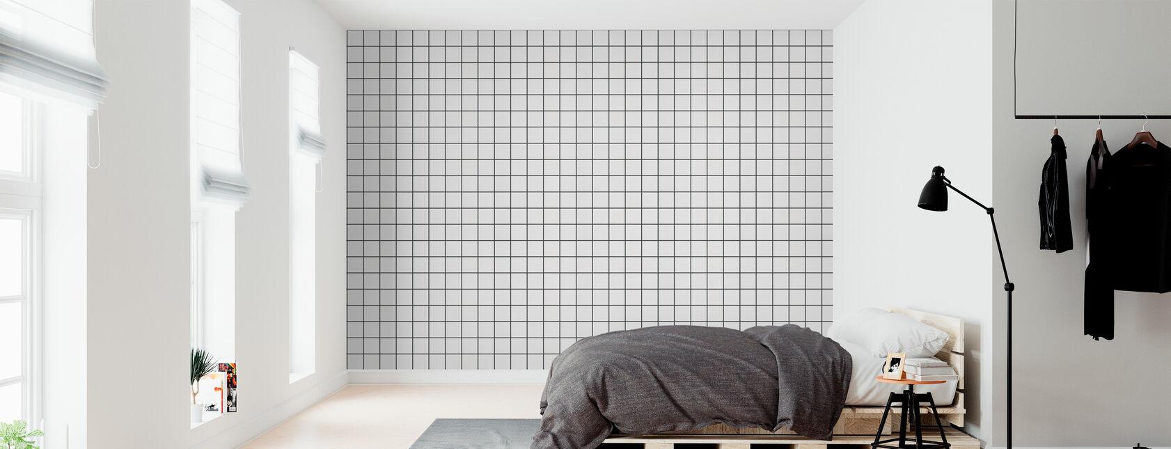 White Ceramic Tiles - 10x10 Antracit Seam - Wallpaper - Bedroom