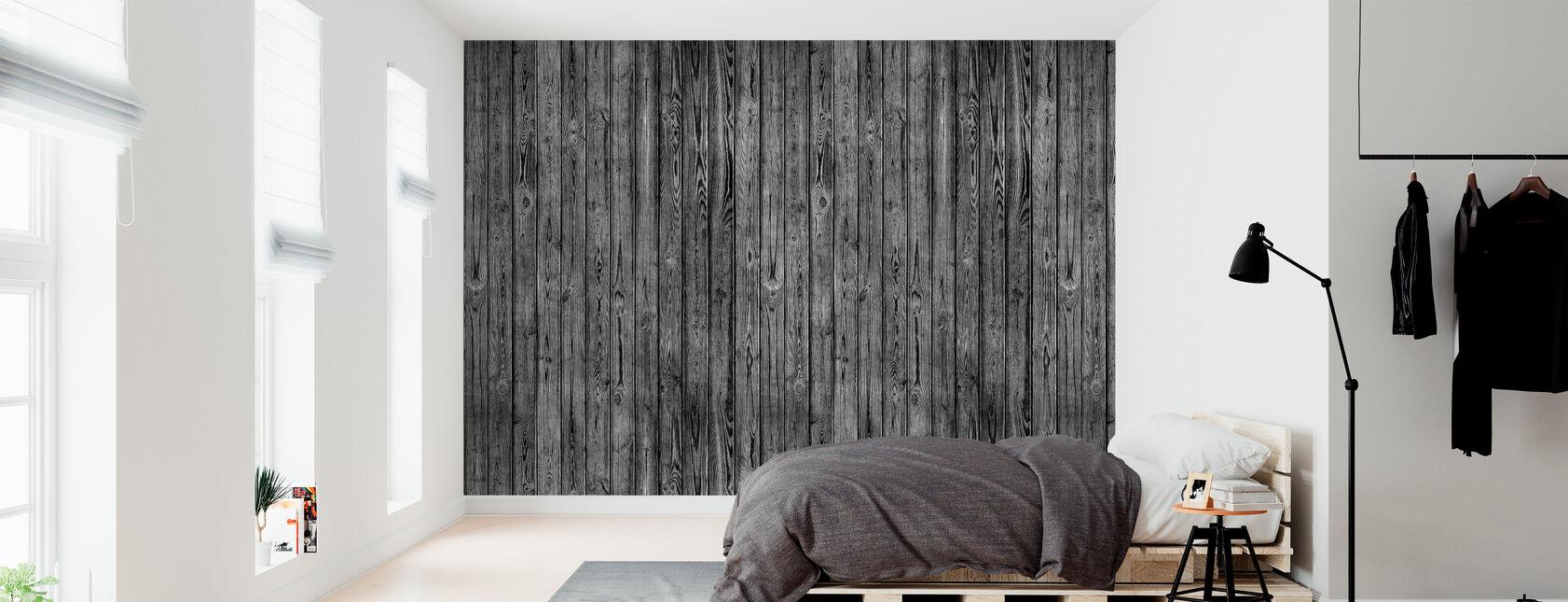 Puinen lankku Wall - Musta - Tapetti - Makuuhuone