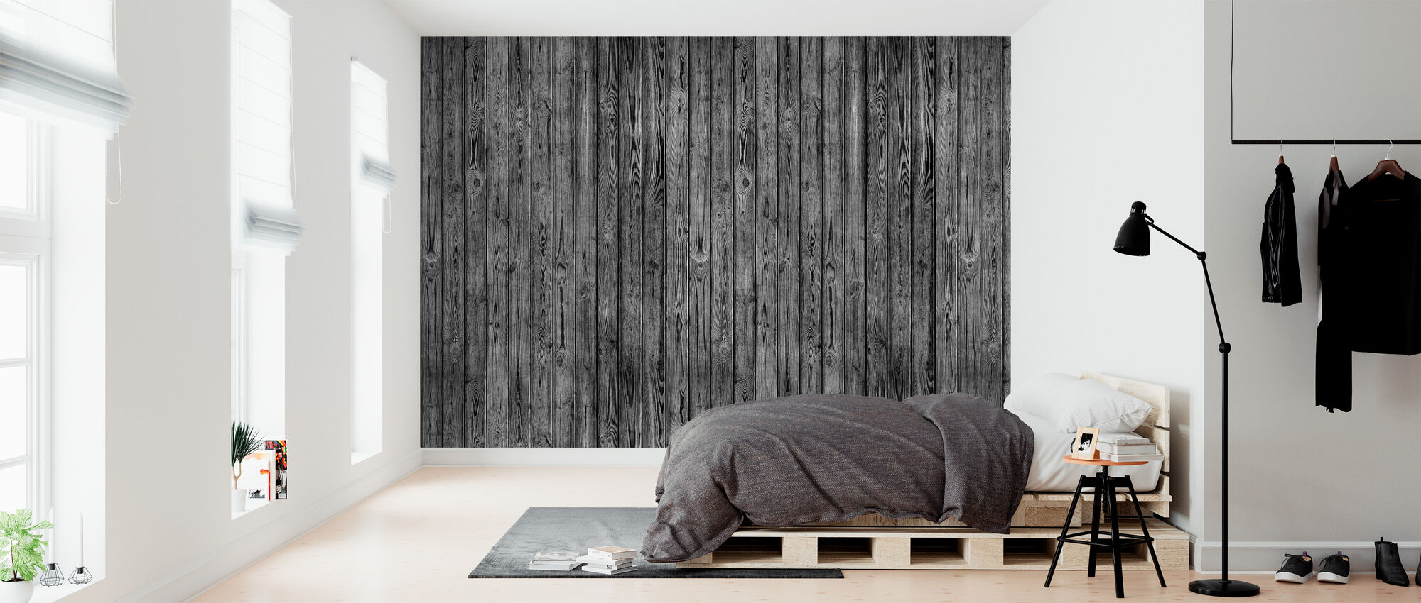 Wooden Plank Wall - Black - Wallpaper - Bedroom