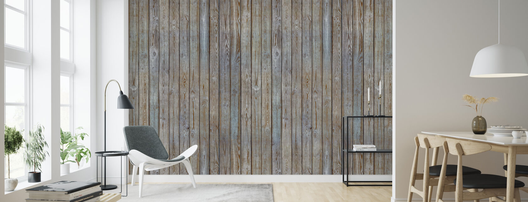Wooden Plank Wall - Old Silver - Wallpaper - Living Room