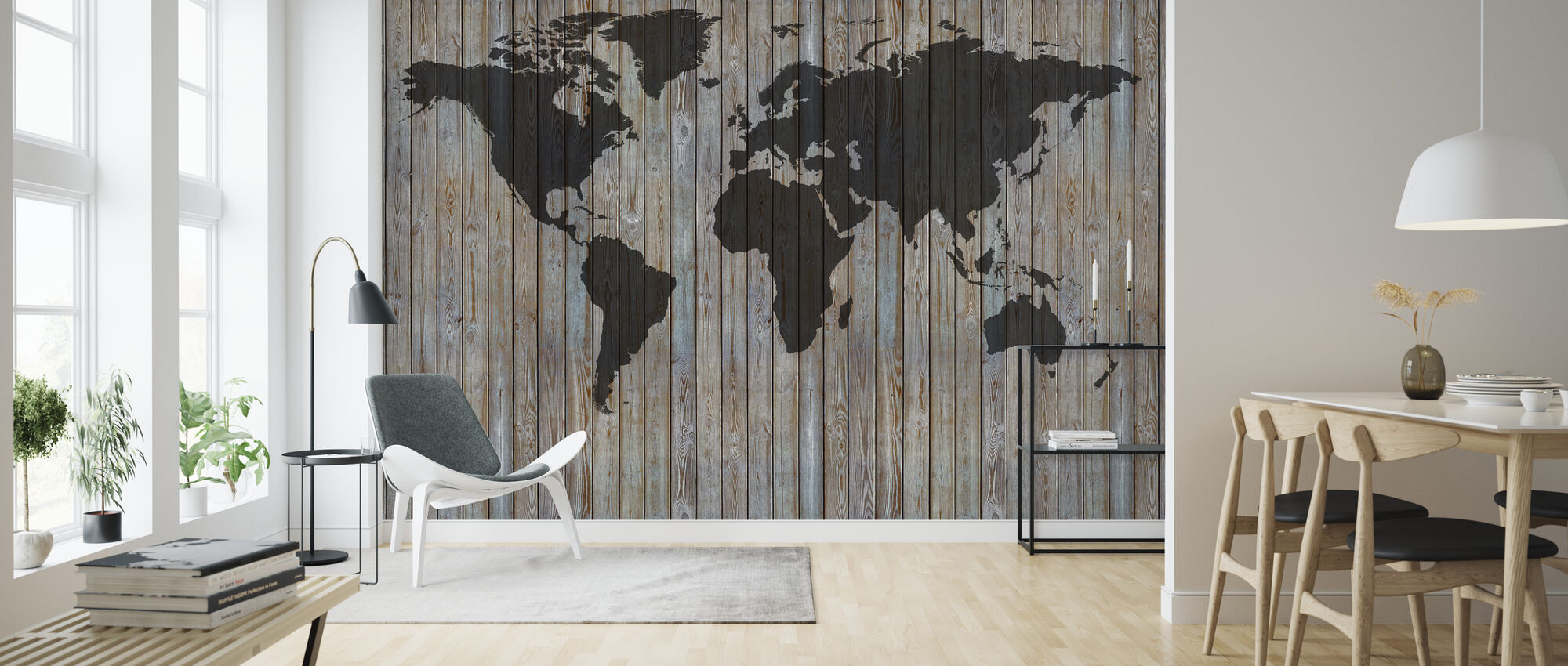 World Map Wooden Plank - Old Silver - Wallpaper - Living Room