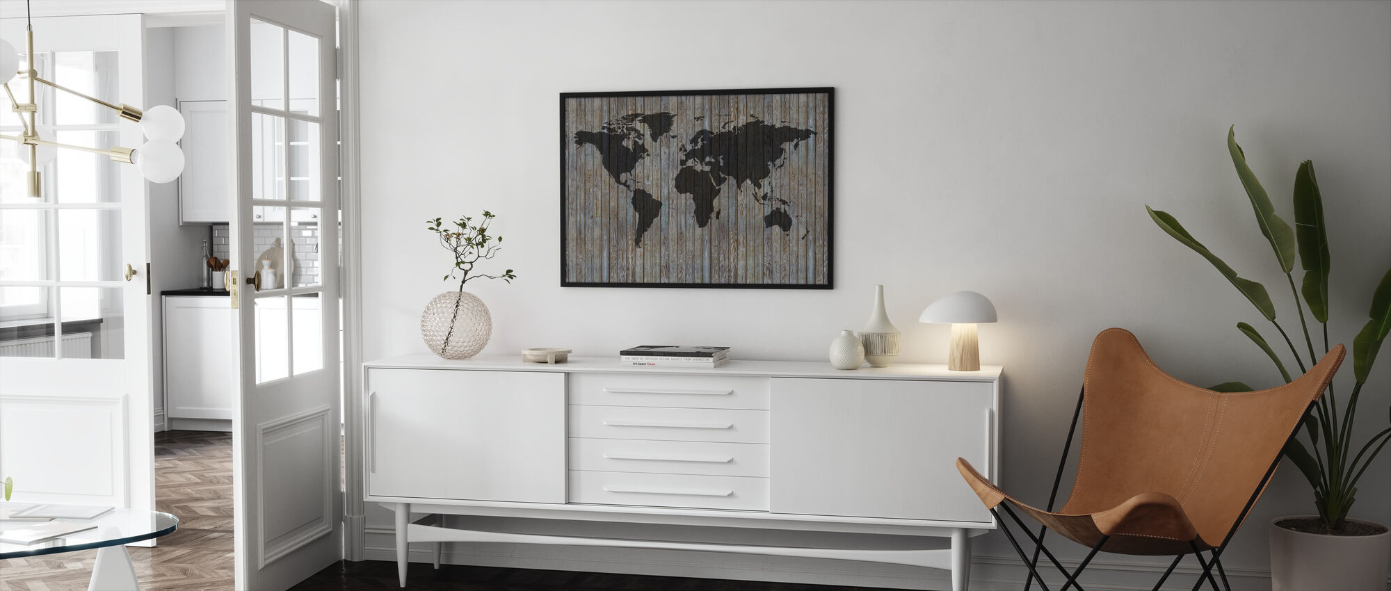 World Map Wooden Plank - Old Silver - Framed print - Living Room