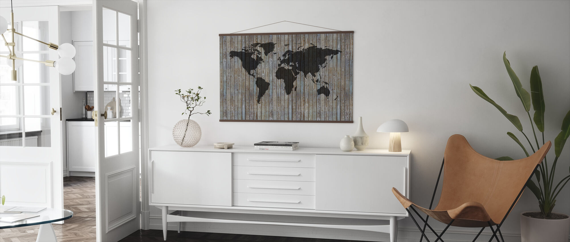 World Map Wooden Plank - Old Silver - Poster - Living Room