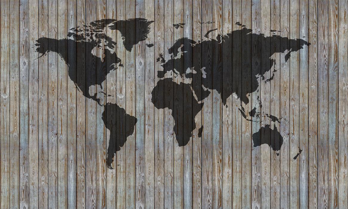 World Map Wooden Plank - Old Silver – Designerbild auf ...