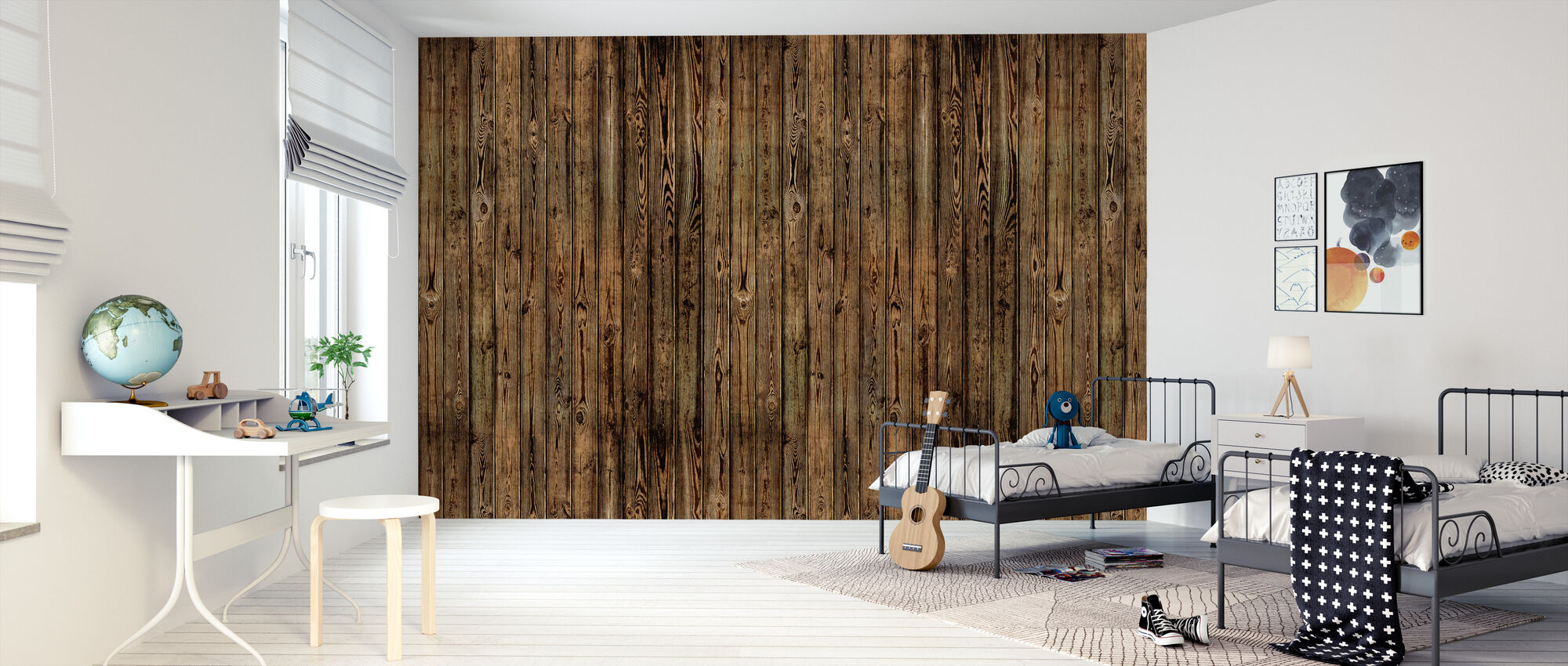 Wooden Plank Wall - Burned - Wallpaper - Kids Room