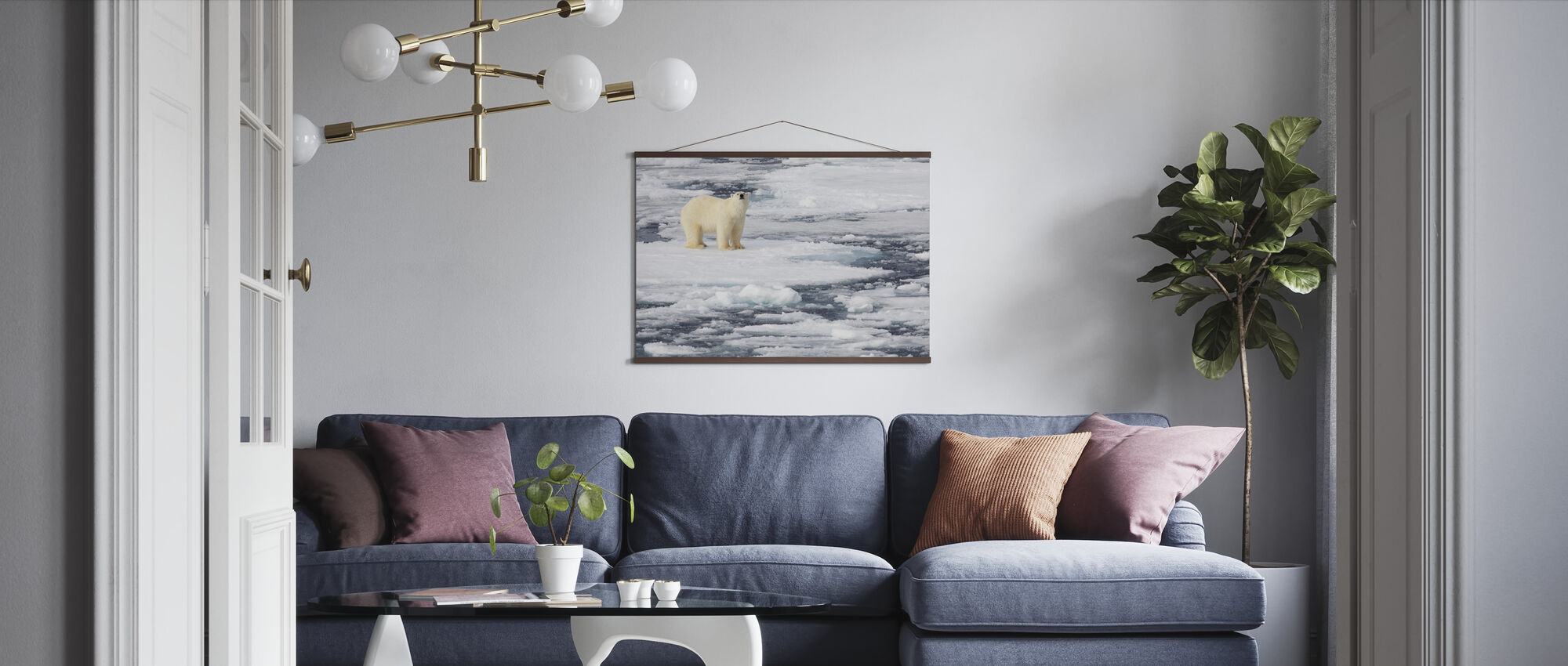 Polar Bear on Sea Ice - Poster - Living Room