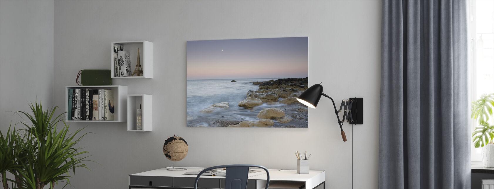 Månegang over havet - Billede på lærred - Kontor