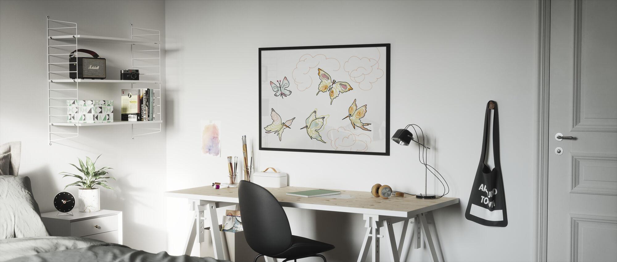 Jonka perhonen 2 - Kehystetty kuva - Lastenhuone