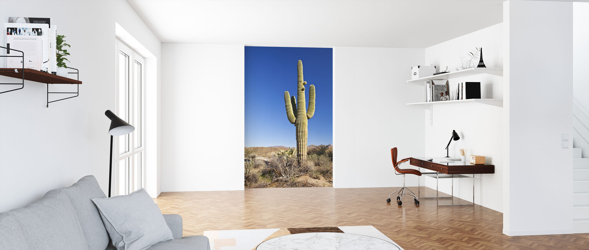 Saguaro Cactus in Desert - Wallpaper - Office