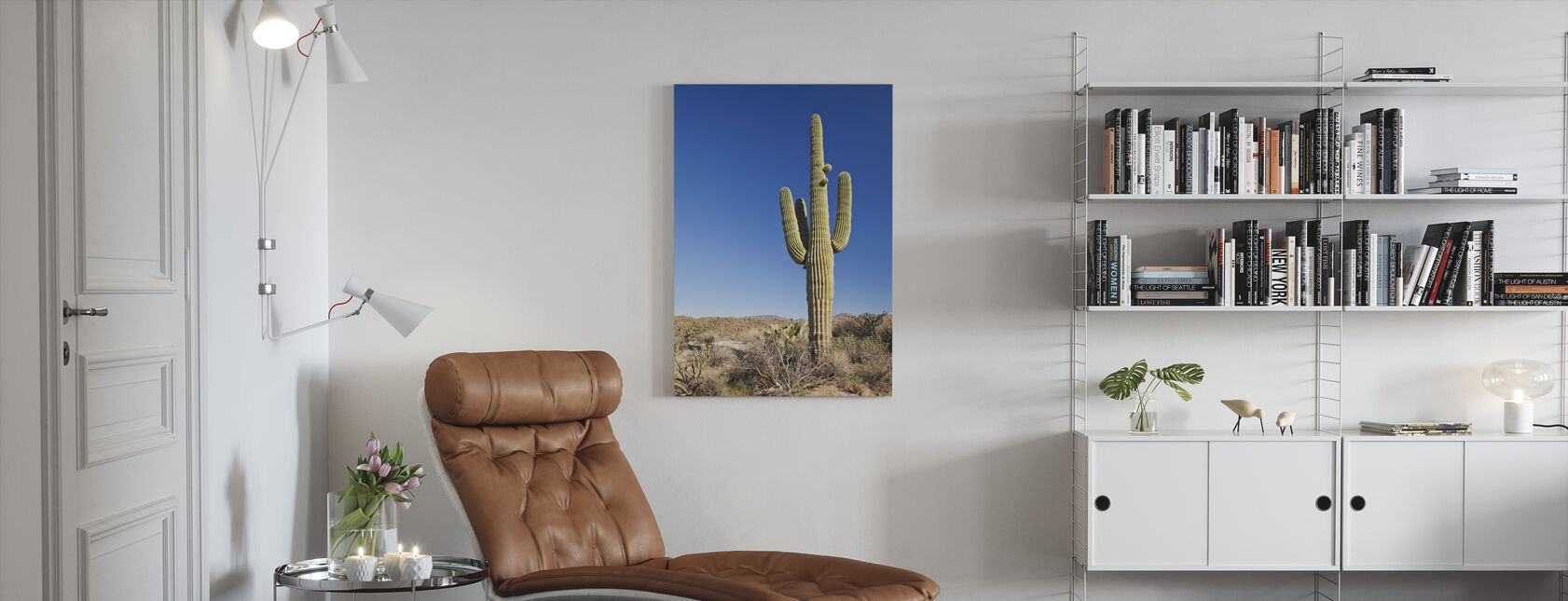 Saguaro Cactus in Desert - Canvas print - Living Room